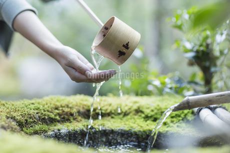 柄杓で手をすすぐ女性の写真素材 [FYI02666650]