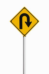 道路標識 転回の写真素材 [FYI02666682]