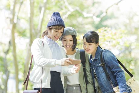 スマートフォンを覗く3人の女性の写真素材 [FYI02666695]
