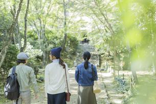 参道を歩く3人の女性の写真素材 [FYI02666835]