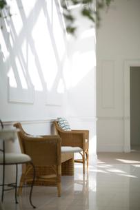 陽射しの入る白い部屋にある藤の椅子の写真素材 [FYI02666952]