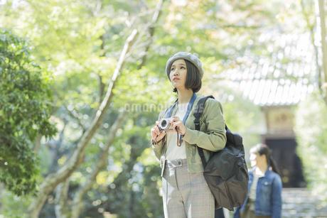 カメラを持って見上げる若い女性の写真素材 [FYI02668113]