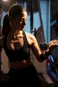 ダンベルを持ちトレーニングをする真剣な表情の20代女性の写真素材 [FYI02668768]