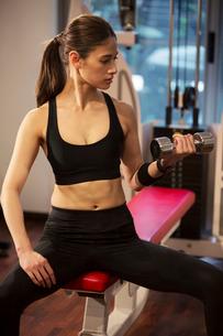 ダンベルを持ちトレーニングをする20代女性の写真素材 [FYI02669448]