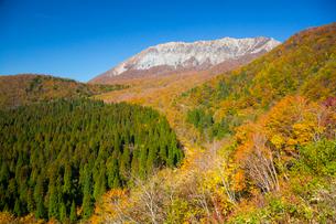 鍵掛峠より紅葉と大山の写真素材 [FYI02669698]