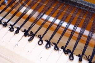 機織作業の織り始めで、経糸を結んだ所の写真素材 [FYI02670534]