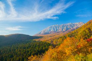 鍵掛峠より紅葉と大山南壁の断崖の写真素材 [FYI02671167]
