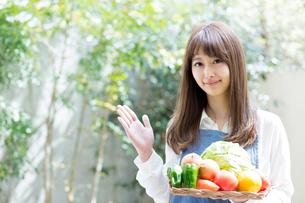 野菜を持つエプロンの女性の写真素材 [FYI02671551]
