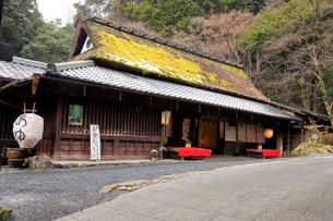 1月 雪模様の平野屋  京都奥嵯峨の茶屋の写真素材 [FYI02671797]