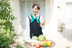 生鮮野菜を持つ野菜ソムリエの写真素材 [FYI02671864]