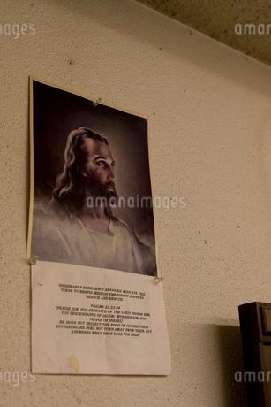 壁のイエス・キリストの絵の写真素材 [FYI02671898]
