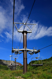 8月 夏の青空を行く白馬八方尾根のゴンドラリフトの写真素材 [FYI02672091]