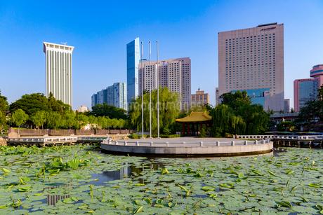 大連,労働公園と高層ビル群の写真素材 [FYI02672245]