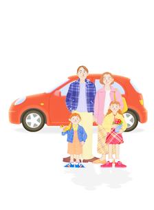 家族4人と車の写真素材 [FYI02673024]