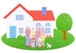 3世代家族と2世帯住宅のイラスト素材 [FYI02673496]