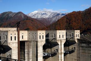 11月 紅葉と雪景色の徳山ダムの写真素材 [FYI02673577]