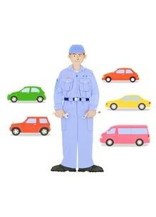 整備士と5台の車のイラスト素材 [FYI02673644]