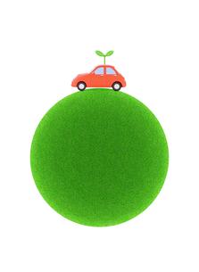 車と新芽と緑の球体の写真素材 [FYI02673695]