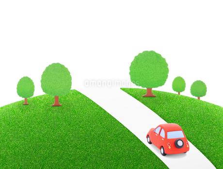 赤い粘土の車と樹木の写真素材 [FYI02673827]