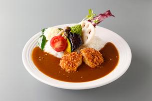 コロッケと野菜のカレーライスの写真素材 [FYI02674352]