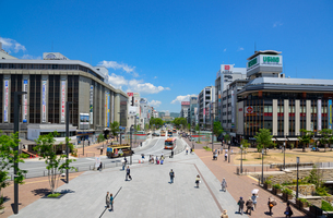 姫路城と大手前通りの景観の写真素材 [FYI02674862]