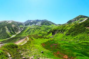 立山室堂平・遊歩道より血の池と雄山などの山々の写真素材 [FYI02675564]