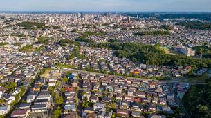 仙台市青葉区中山から仙台市街を空撮の写真素材 [FYI02675592]