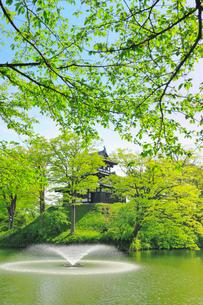 高田公園・高田城三重櫓と噴水の写真素材 [FYI02676012]