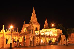 ブダペスト 王宮の丘・漁夫の砦のライトアップ夜景の写真素材 [FYI02676125]