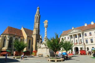 ショプロン 中央広場の山羊教会と三位一体像の写真素材 [FYI02676128]