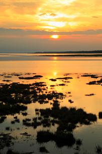 風蓮湖と夕日の写真素材 [FYI02676221]