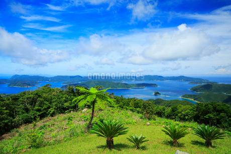 奄美大島 油井岳展望台より望む大島海峡と加計呂麻島の写真素材 [FYI02676281]