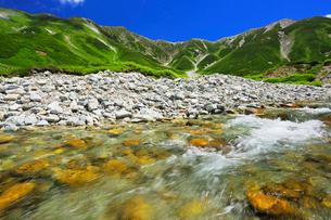 夏の立山連峰と清流の写真素材 [FYI02676885]
