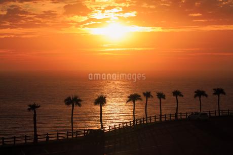 奄美大島 大浜海浜公園より望む東シナ海の夕焼けの写真素材 [FYI02677594]