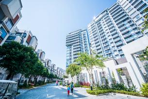 香港のデザイナーズ高級住宅地の写真素材 [FYI02678019]