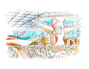 多くの観客で混み合う日本万国博覧会の会場のイラスト素材 [FYI02678237]