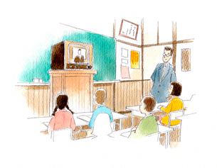 皆でテレビのニュースを観ている昭和の小学校の教室のイラスト素材 [FYI02678519]