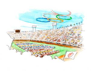 空に描かれた五輪マークの下で行われる東京オリンピック開会式のイラスト素材 [FYI02678779]