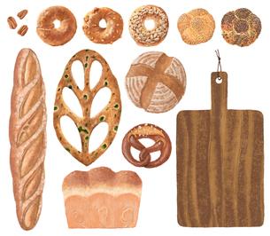 パンとカッティングボード_バラのイラスト素材 [FYI02678873]