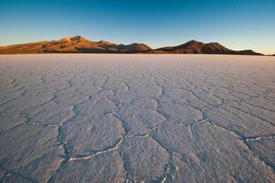 乾季のウユニ塩湖の亀甲模様と朝日の写真素材 [FYI02678997]