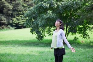 緑の中を歩く女性の写真素材 [FYI02679186]