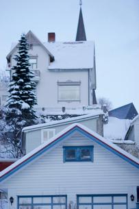 Norway Harstadの三角屋根の家の写真素材 [FYI02679241]