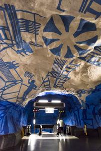 スウェーデン地下鉄ティーセントラーレン駅のアート2の写真素材 [FYI02679531]