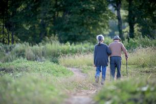 寄り添って歩くシニア夫婦の後ろ姿の写真素材 [FYI02679561]