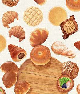 パンと木のお皿のイラスト素材 [FYI02679723]