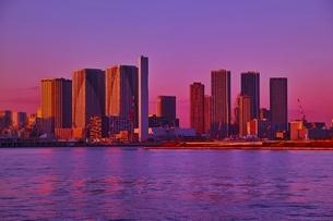 夕焼け色に染まる東京のビル群の写真素材 [FYI02679911]