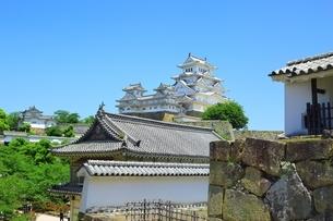 新緑の姫路城 菱の門の屋根と天守群の写真素材 [FYI02680828]