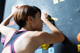 ボルダリングをする若い女性の後ろ姿の写真素材 [FYI02680937]