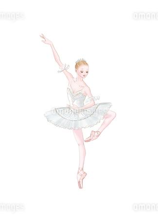 バレエ 白いチュチュを着て踊る女性のイラスト素材 [FYI02681146]