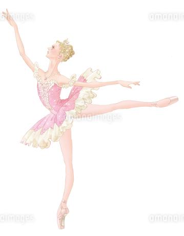 バレエ「眠りの森の美女」オーロラ姫を踊る女性のイラスト素材 [FYI02681219]